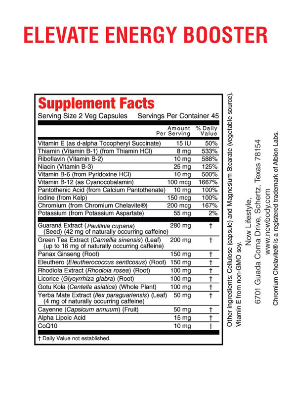 nutrition facts elevate energy booster
