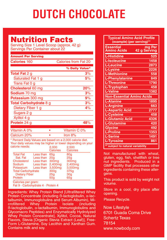 nutrition facts protein chocolate